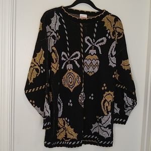 Black, gold and silver holiday pullover sweater